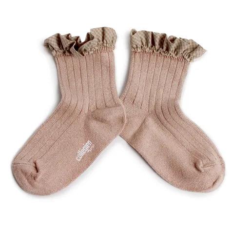 Collégien- Brigitte - Chaussettes courtes à côtes et son volant vichy - Socken - (Kinder) - Vieux Ro