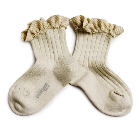 Collégien- Brigitte - Chaussettes courtes à côtes et son volant vichy - Socken - (Kinder) - Doux Agn